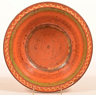 Slip Decorated Redware Pottery Bowl.