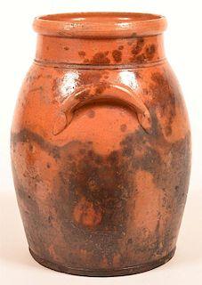 Mottle Glazed Redware Pottery Storage Crock.
