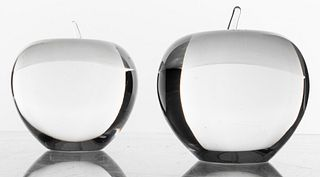 Tiffany & Company Crystal Apple Paperweights, Pair