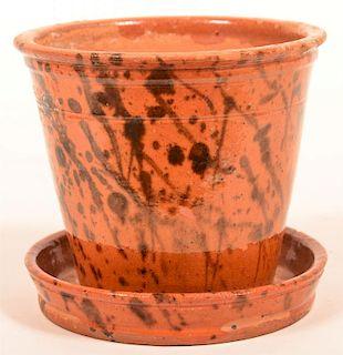 W. Smith, Womelsdorf, PA Redware Flower Pot.