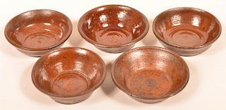 5 PA Glazed Redware Pottery Sauce Dishes.