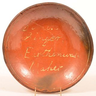 Pennsylvania Redware Pottery Charger.
