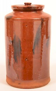Mottle Glazed Redware Storage Jar with Lid.