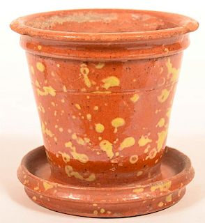 PA Speckle Glazed Redware Flower Pot.