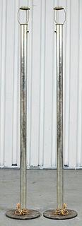 Modern Aluminum Floor Lamps, Pair