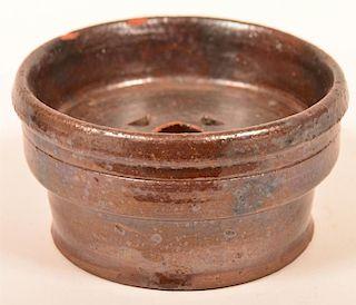 19th Century Glazed Redware Soap Dish.