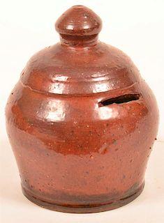 Glazed Redware Pottery Dome Form Bank.