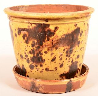 Redware Pottery Planter with Saucer Base.