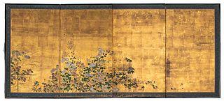 Japanese Gouache Four Panel Folding Screen