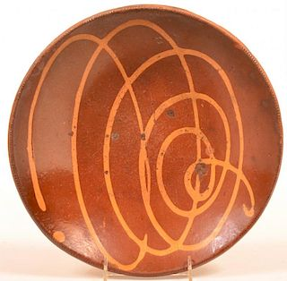 Yellow Slip Decorated Redware Pottery Charger.