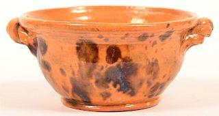 Mottle Glazed Redware Pottery Sugar Bowl.