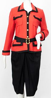 Chanel Red And Black Bouclé Skirt Suit