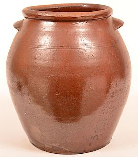 Large Redware Pottery Storage Crock.