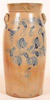 Blue Slip Decorated Stoneware Butter Churn.