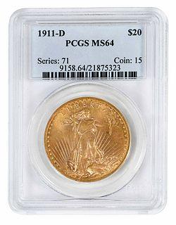 1911-D St. Gaudens $20 Gold Coin