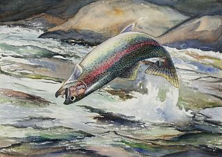 William J. Schaldach (1896–1982) — Leaping Rainbow Trout; Pike