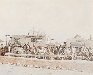 Oscar Berninghaus (1874–1952) — Wagon Yard - Taos (1944)