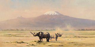David Shepherd (1931–2017) — Amboseli Evening [or] Rhinos with Mt. Kilimanjaro (1967)