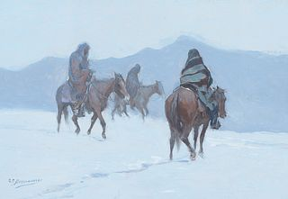 Oscar Berninghaus (1874–1952) — Taos Indians on Horseback