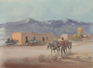 Oscar Berninghaus (1874–1952) — The Wood Peddler, Taos, New Mexico