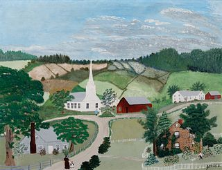 """Anna Mary Robertson """"Grandma"""" Moses (1860–1961) — The Church in the Hills (1944)"""