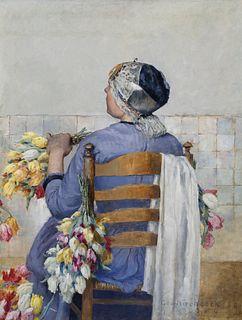 George Hitchcock (1850–1913) — Arranging Flowers (1889)