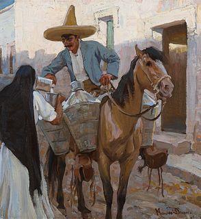 Maynard Dixon (1875–1946) — El Lechero (The Milkman), Guadalajara, Mexico