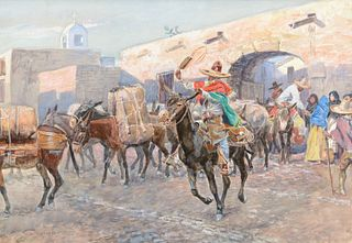 Charles M. Russell (1864–1926) — Mexicans Leaving an Inn (1906)