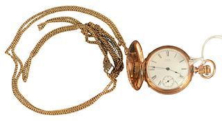 14 Karat Gold American Waltham Closed Face Pocket Watch, along with slide chain, 15.7millimeter, 58.4 grams total weight, (crack in glass).