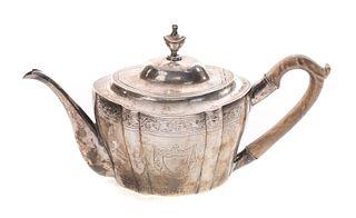 Engraved Coin Silver Teapot 1784-1819 Hugh Wishart