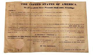 1834 President Andrew Jackson Land Grant