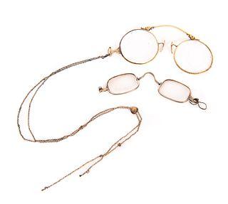 3 Pairs of Antique Gold Eyeglasses