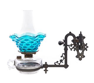 Antique Cast Iron Wall Sconce with Font and Blue Thumbprint Shade