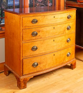 Early Tiger Maple Bow Front Chest