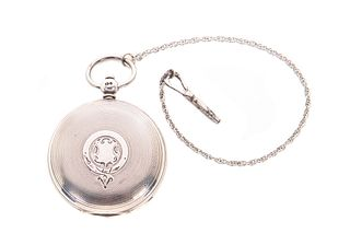 KWKS Fusee Sterling Silver Hunting Case w/ Key Pocket Watch