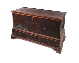 1786 Chippendale Blanket Chest in Old Paint