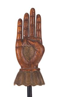 IOOF Odd Fellows Folk Art Carved Painted Heart In Hand Staff
