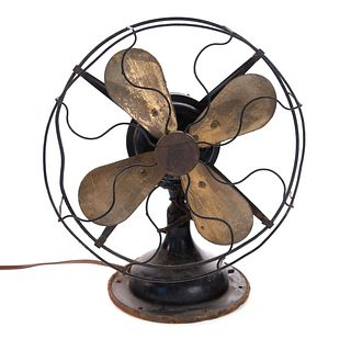 Antique Robbins and Myers Brass Blade Fan