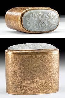 19th C. Chinese Qing Brass Box w/ White Jade Inlay