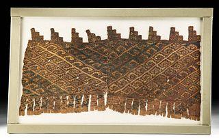Framed Chimu Polychrome Textile Fragment w/ Avian Motif
