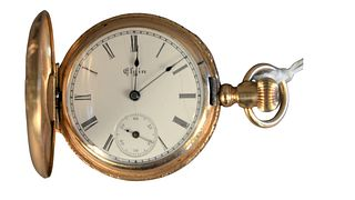 14 Karat Gold American Waltham Closed Face Pocket Watch, 16.3 millimeter, 53.8 grams total weight, (ring is not gold, crack in face).