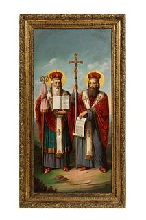 Unknown (Russian School, 19th Century) A Large Russian Oil Painting of Bishops 19th Century