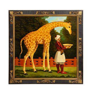 William Skilling (American/British, 1862–1964) Giraffe & Attendant Oil Painting