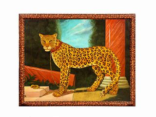 William Skilling (American/British, 1862–1964) A Standing Leopard Oil on Canvas