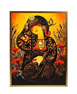 "Nasser Ovissi, 'Iranian, Born 1934' ""Safavid Lady"" Oil on Canvas Painting"