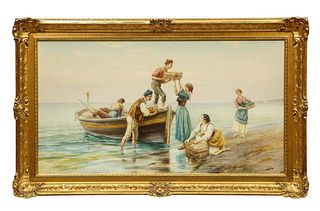 Pietro Gabrini (Italian 1856-1926) An Extremely Fine Hand-Painted Watercolor