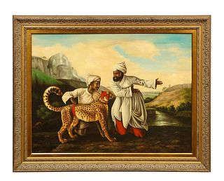 """A Magnificent Orientalist Oil on Canvas Painting """"Escorting The Cheetah"""" C. 1920"""