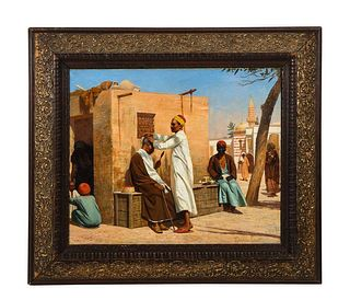 """An Exceptional Orientalist Oil Painting """"The Barber"""", Cairo (19th Century)"""