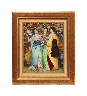 """Unknown A Fine French Japonisme Oil on Canvas Painting of """"Three Geishas"""" C. 1900"""