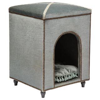 Exquisite French Louis XVI Style Velvet-Upholstered Niche de Chien (Dog Bed)